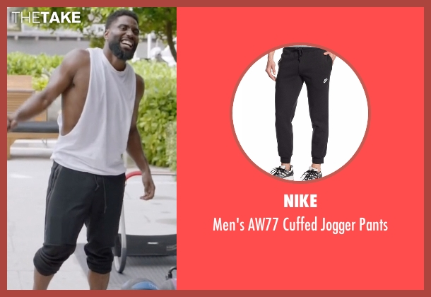 Nike black pants from Ballers seen with Ricky Jerret (John David Washington)