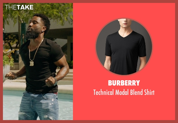 Burberry black shirt from Ballers seen with Ricky Jerret (John David Washington)