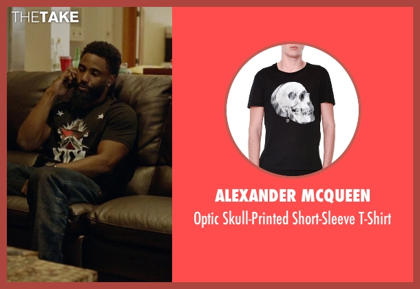 Alexander McQueen black t-shirt from Ballers seen with Ricky Jerret (John David Washington)