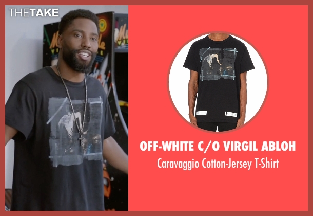 Off-White C/O Virgil Abloh black t-shirt from Ballers seen with Ricky Jerret (John David Washington)