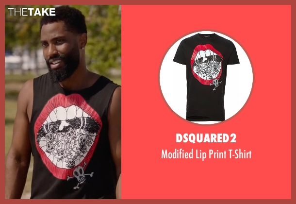 Dsquared2 black t-shirt from Ballers seen with Ricky Jerret (John David Washington)