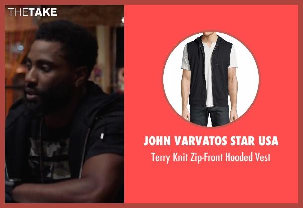 John Varvatos Star USA black vest from Ballers seen with Ricky Jerret (John David Washington)