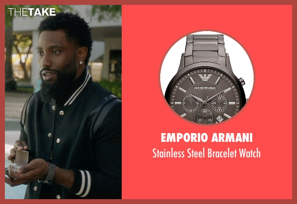 Emporio Armani black watch from Ballers seen with Ricky Jerret (John David Washington)