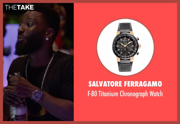 Salvatore Ferragamo black watch from Ballers seen with Ricky Jerret (John David Washington)