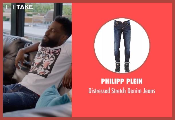 Philipp Plein  blue jeans from Ballers seen with Ricky Jerret (John David Washington)