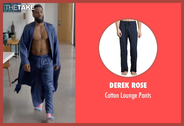 Derek Rose blue pants from Ballers seen with Ricky Jerret (John David Washington)