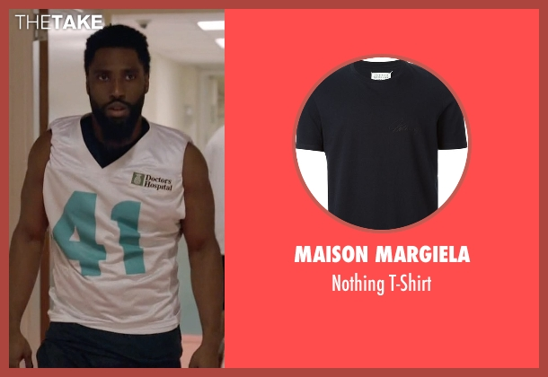 Maison Margiela blue t-shirt from Ballers seen with Ricky Jerret (John David Washington)