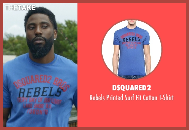 DSquared2 blue t-shirt from Ballers seen with Ricky Jerret (John David Washington)