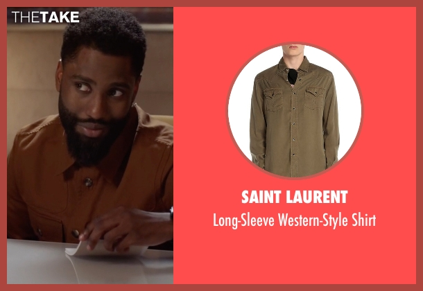 Saint Laurent brown shirt from Ballers seen with Ricky Jerret (John David Washington)