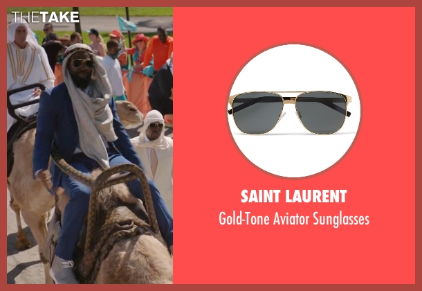 Saint Laurent gold sunglasses from Ballers seen with Ricky Jerret (John David Washington)