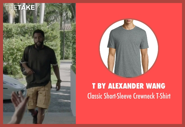 T by Alexander Wang gray t-shirt from Ballers seen with Ricky Jerret (John David Washington)