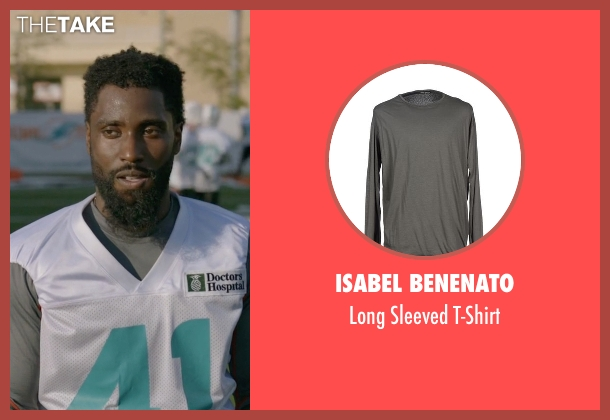 Isabel Benenato gray t-shirt from Ballers seen with Ricky Jerret (John David Washington)