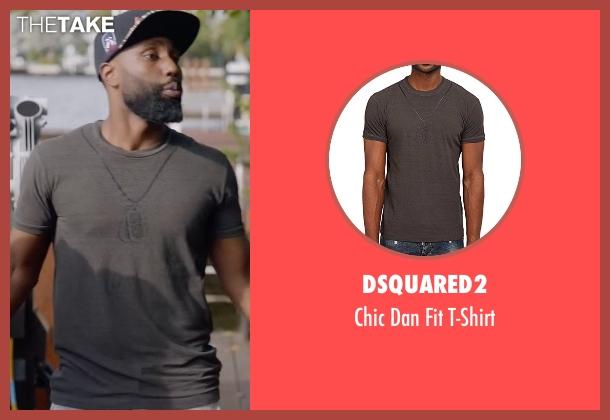 Dsquared2 gray t-shirt from Ballers seen with Ricky Jerret (John David Washington)