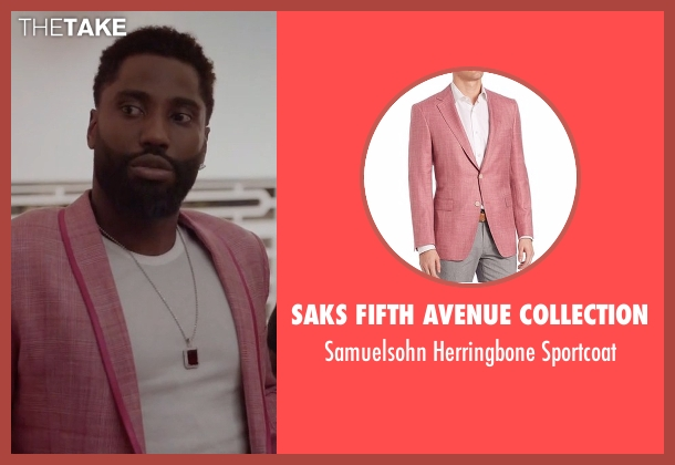 Saks Fifth Avenue Collection pink sportcoat from Ballers seen with Ricky Jerret (John David Washington)
