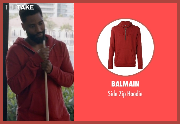 Balmain red hoodie from Ballers seen with Ricky Jerret (John David Washington)