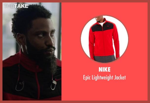 Nike red jacket from Ballers seen with Ricky Jerret (John David Washington)
