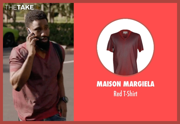 Maison Margiela red t-shirt from Ballers seen with Ricky Jerret (John David Washington)