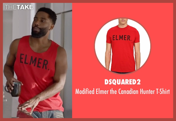 Dsquared2 red t-shirt from Ballers seen with Ricky Jerret (John David Washington)