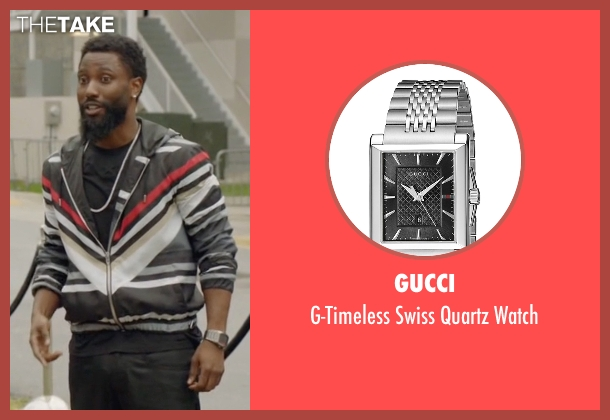 Gucci silver watch from Ballers seen with Ricky Jerret (John David Washington)