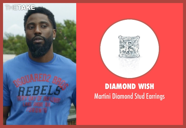 Diamond Wish white earrings from Ballers seen with Ricky Jerret (John David Washington)