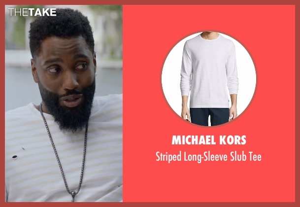 Michael Kors white tee from Ballers seen with Ricky Jerret (John David Washington)