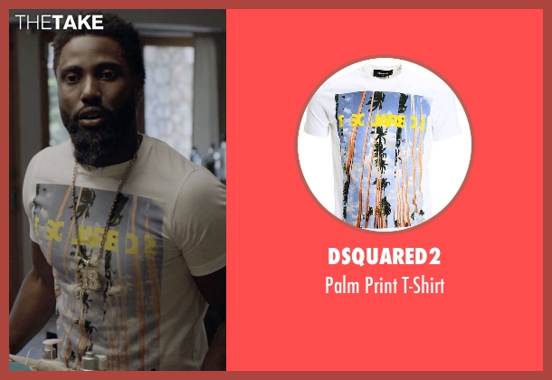 DSquared2 white t-shirt from Ballers seen with Ricky Jerret (John David Washington)
