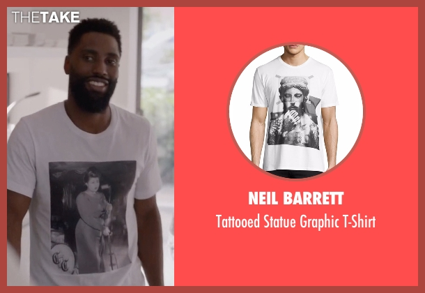 Neil Barrett white t-shirt from Ballers seen with Ricky Jerret (John David Washington)
