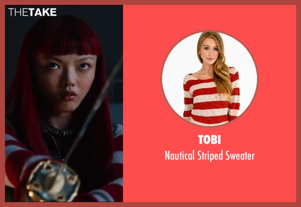 Tobi red sweater from The Wolverine seen with Rila Fukushima (Yukio)