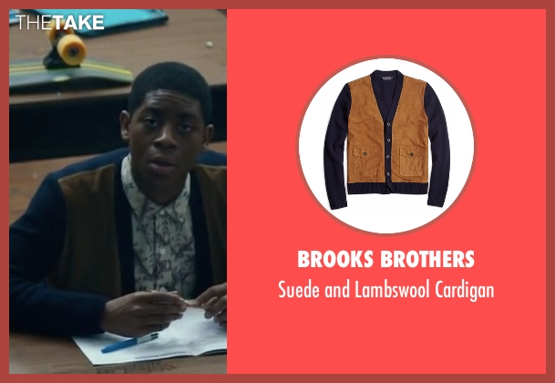 Brooks Brothers blue cardigan from Power Rangers seen with RJ Cyler (Billy Cranston / Blue Ranger)
