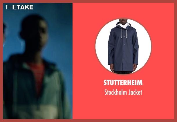 Stutterheim blue jacket from Power Rangers seen with RJ Cyler (Billy Cranston / Blue Ranger)