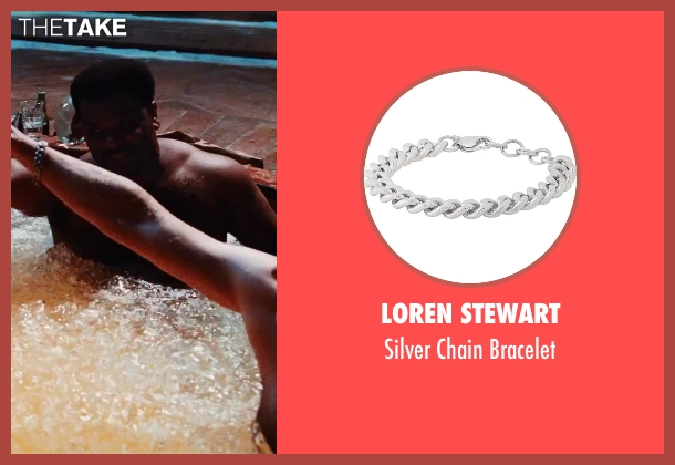Loren Stewart silver bracelet from Hot Tub Time Machine 2 seen with Rob Corddry (Lou)