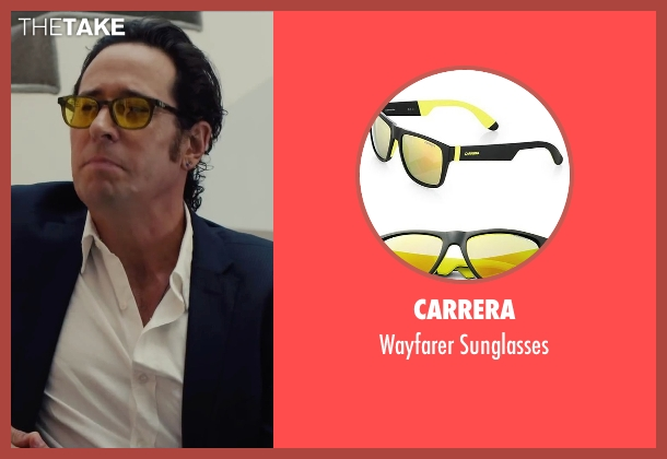 Carrera yellow sunglasses from Begin Again seen with Rob Morrow (CEO)