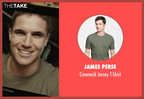 James Perse brown t-shirt from Max seen with Robbie Amell (Kyle Wincott)