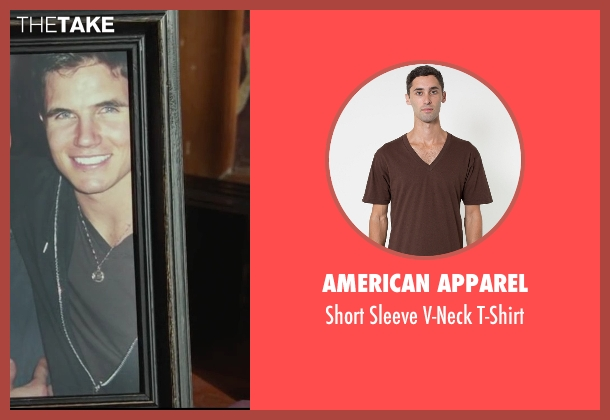 American Apparel brown t-shirt from Max seen with Robbie Amell (Kyle Wincott)