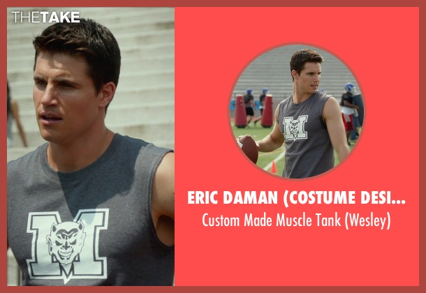 Eric Daman (Costume Designer) gray tank from The DUFF seen with Robbie Amell (Wesley)