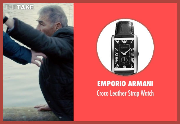 Emporio Armani black watch from Survivor seen with Robert Forster (Bill Talbot)