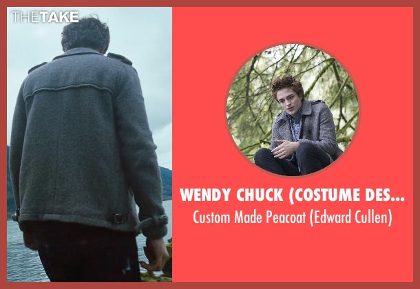 Wendy Chuck (Costume Designer) gray peacoat from Twilight seen with Robert Pattinson (Edward Cullen)