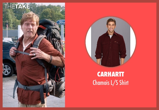 Carhartt red shirt from A Walk in the Woods seen with Robert Redford (Bill Bryson)