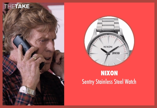 Nixon silver watch from A Walk in the Woods seen with Robert Redford (Bill Bryson)