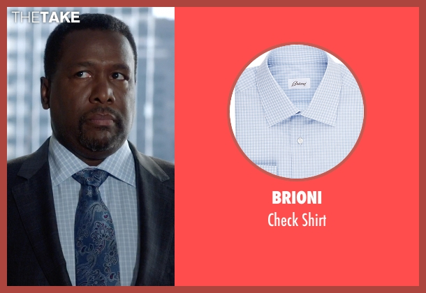 Brioni blue shirt from Suits seen with Robert Zane (Wendell Pierce)