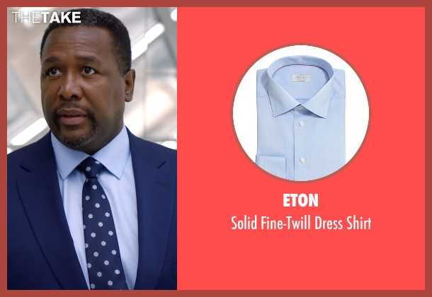 Eton blue shirt from Suits seen with Robert Zane (Wendell Pierce)