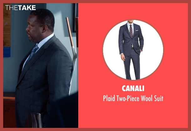 Canali blue suit from Suits seen with Robert Zane (Wendell Pierce)
