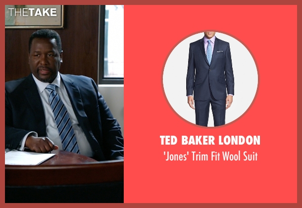 Ted Baker London blue suit from Suits seen with Robert Zane (Wendell Pierce)