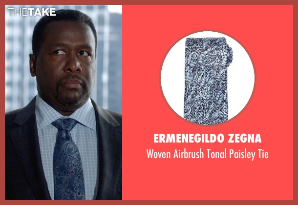 Ermenegildo Zegna blue tie from Suits seen with Robert Zane (Wendell Pierce)
