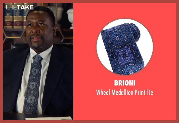 Brioni blue tie from Suits seen with Robert Zane (Wendell Pierce)