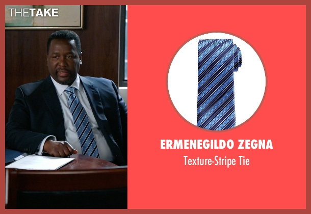Ermenegildo Zegna blue tie from Suits seen with Robert Zane (Wendell Pierce)