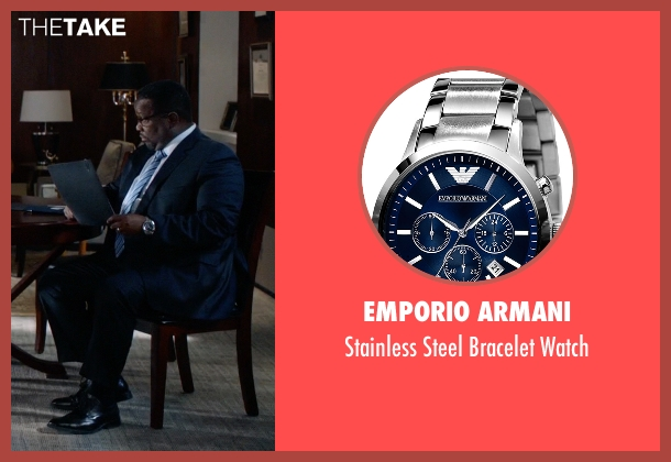Emporio Armani silver watch from Suits seen with Robert Zane (Wendell Pierce)