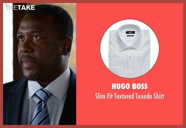 Hugo Boss white shirt from Suits seen with Robert Zane (Wendell Pierce)