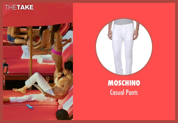 Moschino white pants from Focus seen with Rodrigo Santoro (Garriga)