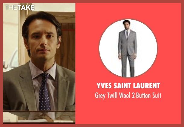 Yves Saint Laurent gray suit from The 33 seen with Rodrigo Santoro (Laurence Golborne)